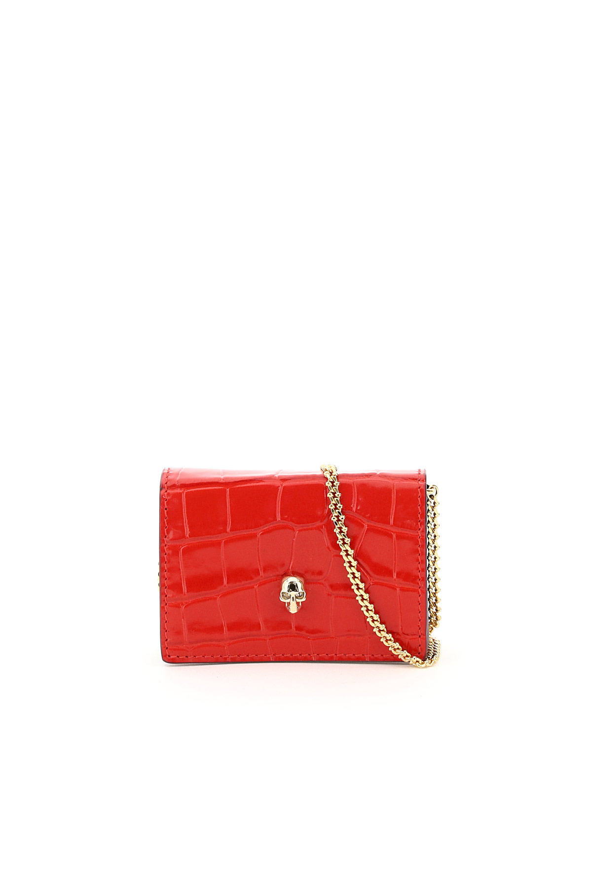 ALEXANDER MCQUEEN SKULL MICRO BAG OS Red Leather