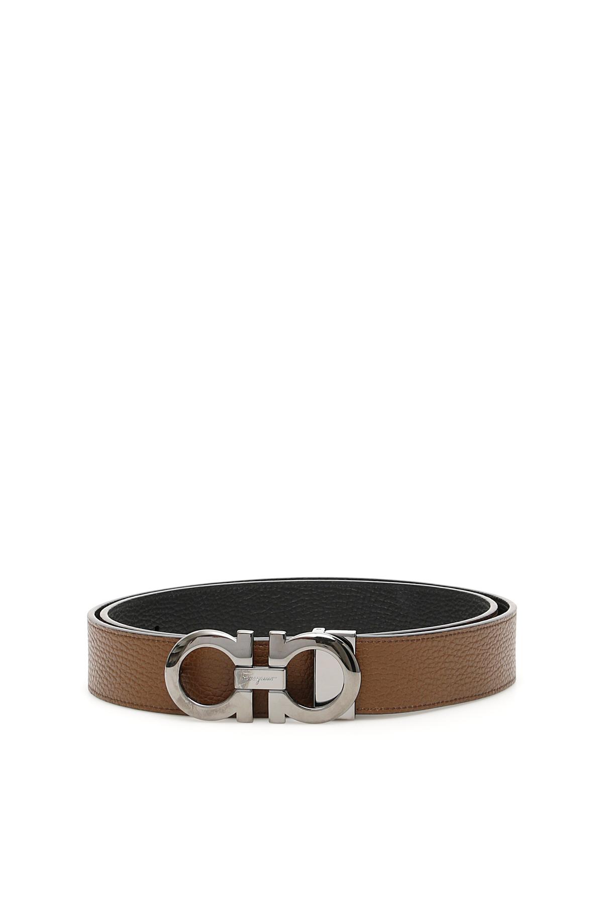 SALVATORE FERRAGAMO REVERSIBLE DOUBLE GANCIO BELT 115 Brown, Black Leather