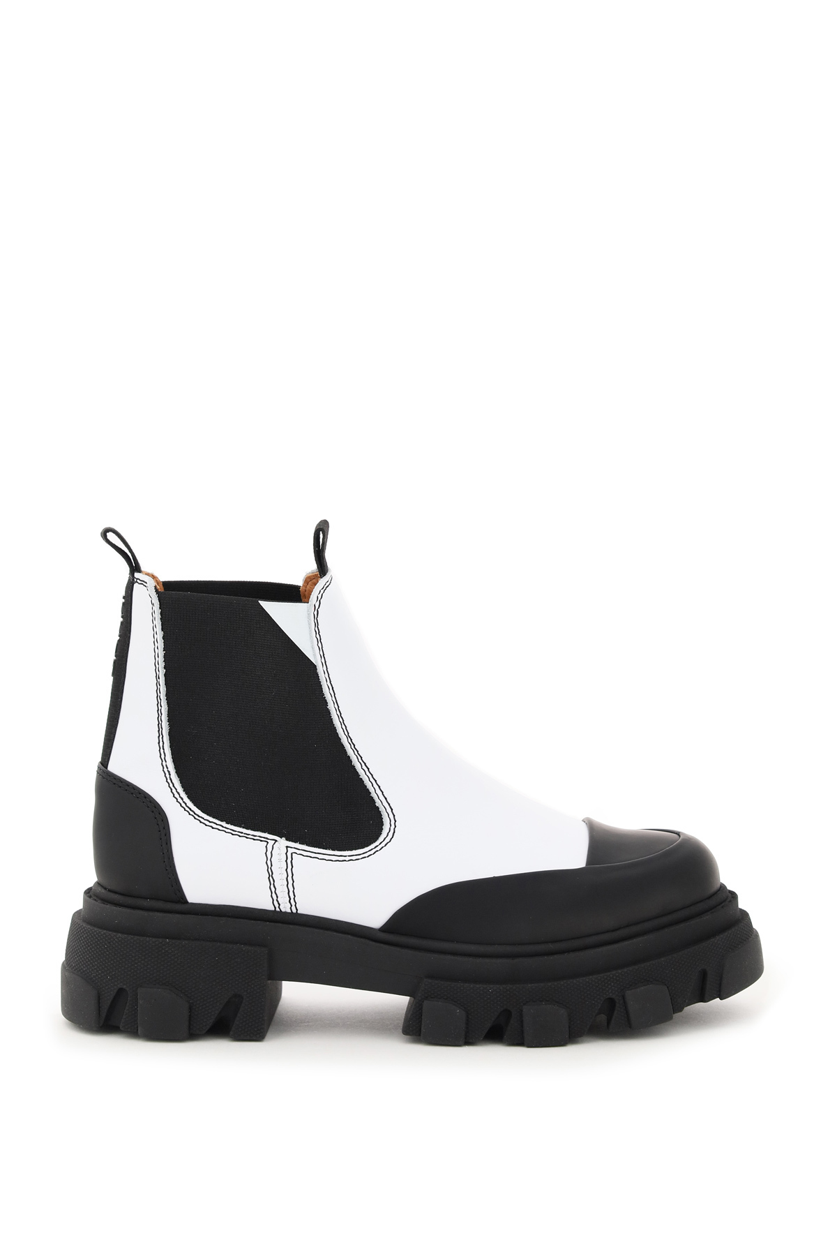 Ganni Leather Chelsea Boots 36 White, Black Leather