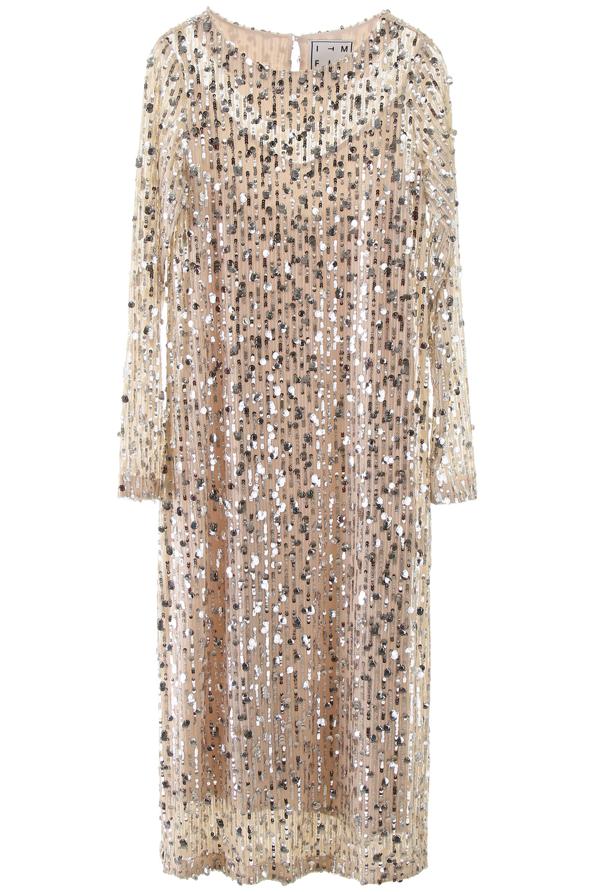 IN THE MOOD FOR LOVE CHRISTY MIDI DRESS WITH SEQUINS XS Beige, Silver