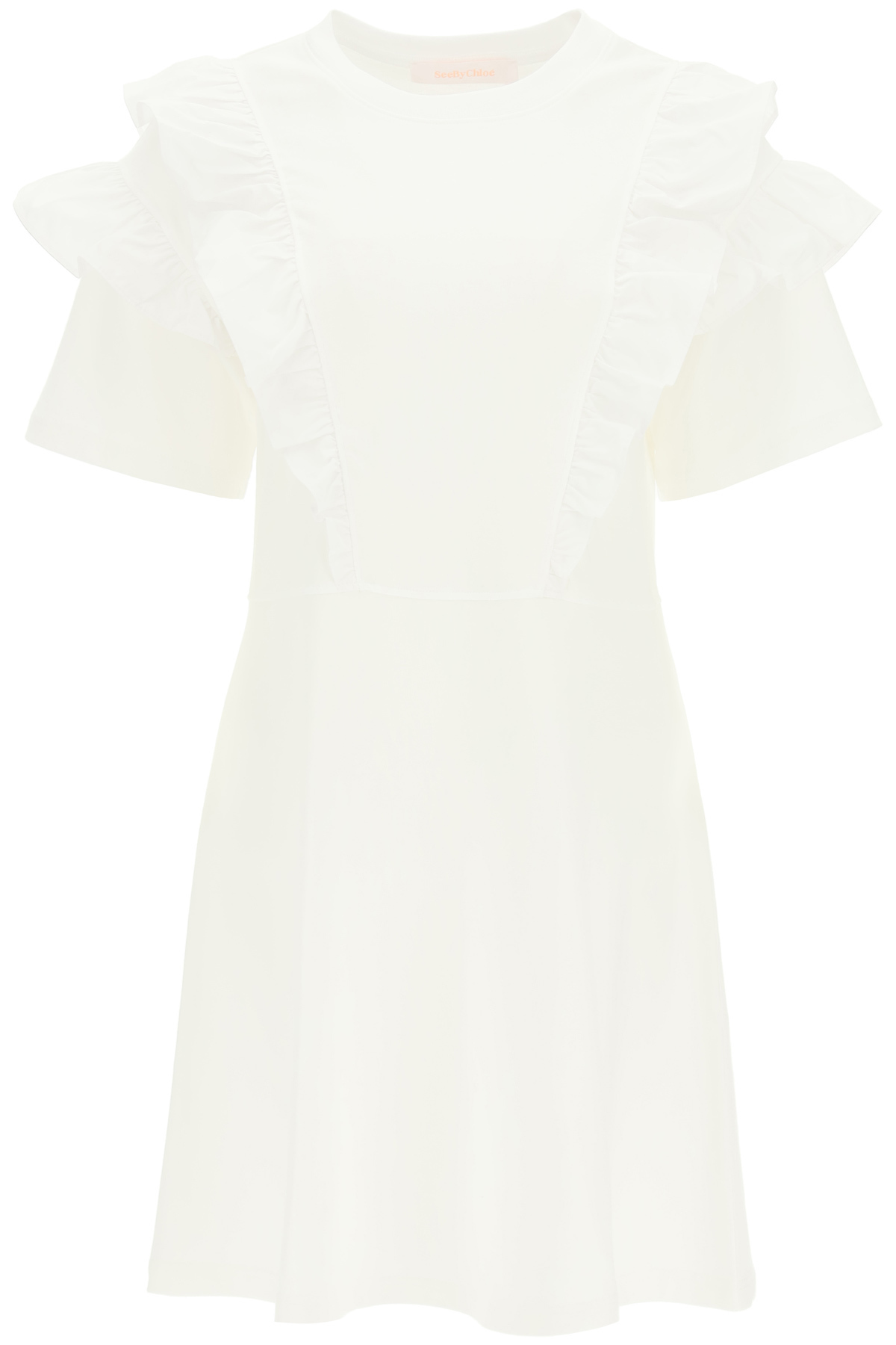 See By Chloé JERSEY SHORT DRESS WITH RUFFLES