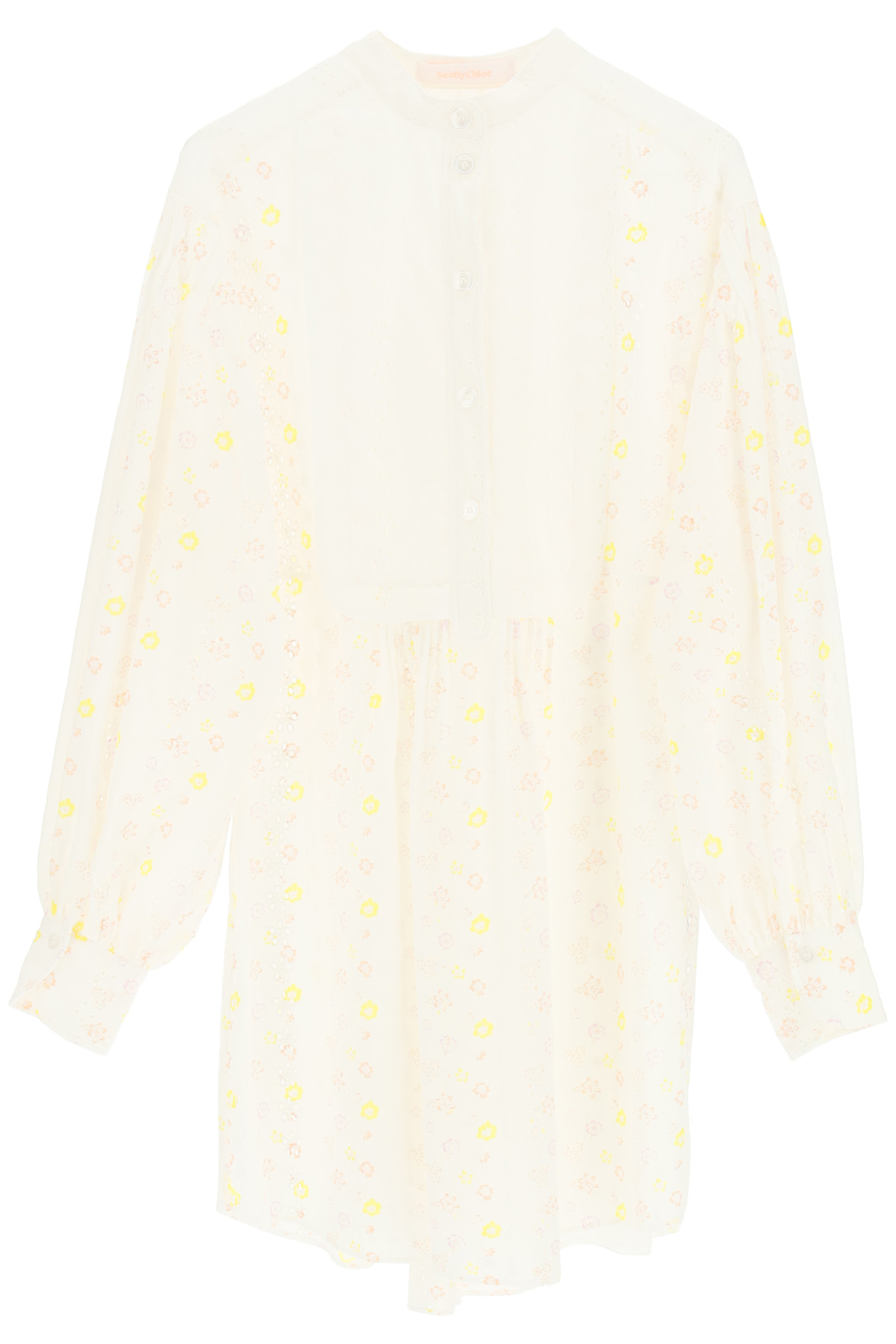 See By Chloé COTTON VOILE MINI DRESS WITH EMBROIDERIES
