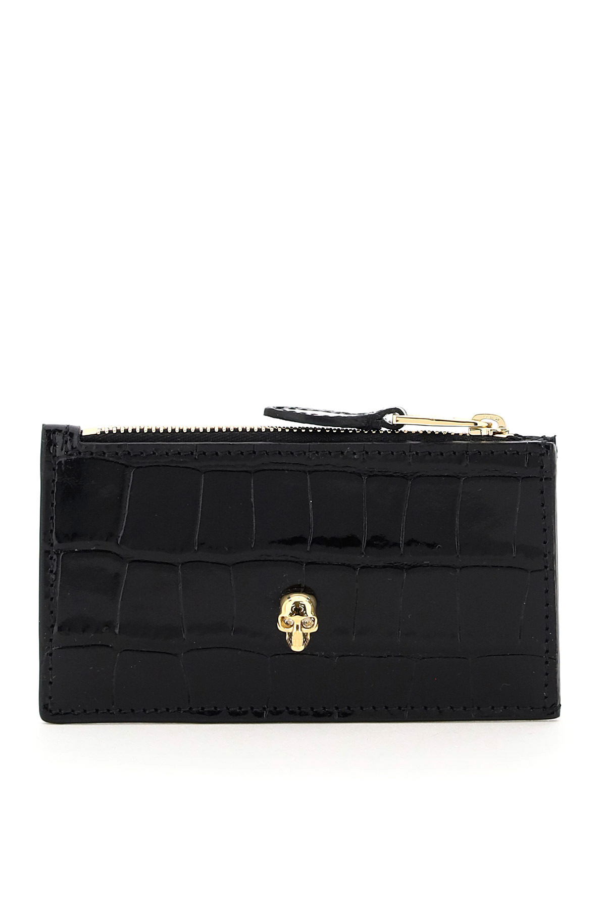 ALEXANDER MCQUEEN SKULL CARD HOLDER POUCH OS Black Leather