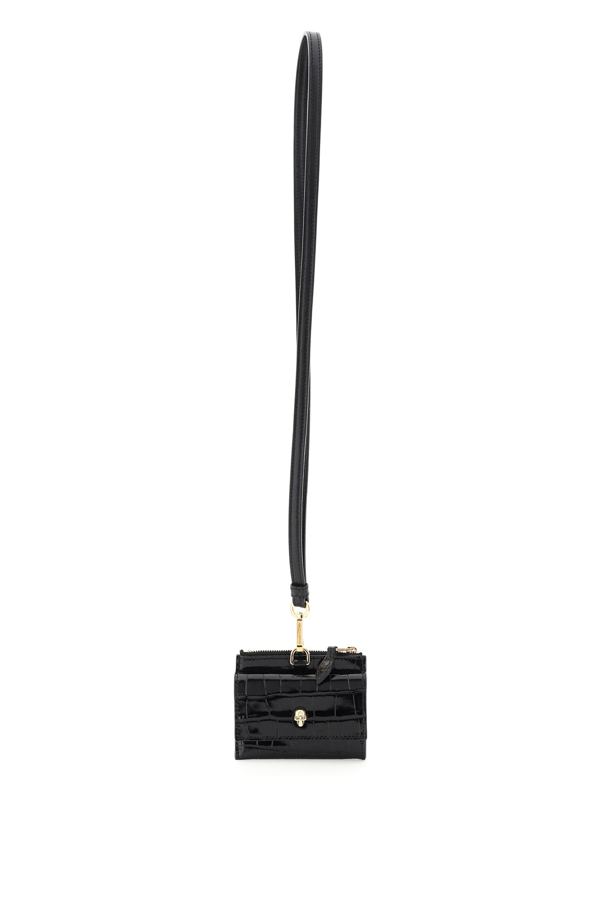 ALEXANDER MCQUEEN SKULL NECKLACE CARD HOLDER POUCH OS Black Leather