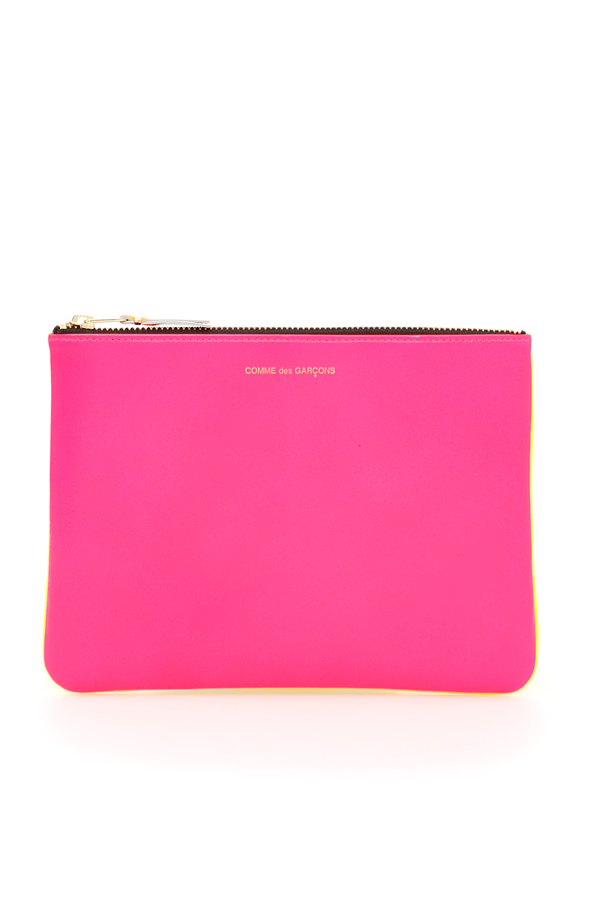 COMME DES GARCONS WALLET SUPER FLUO POUCH OS Fuchsia, Yellow Leather