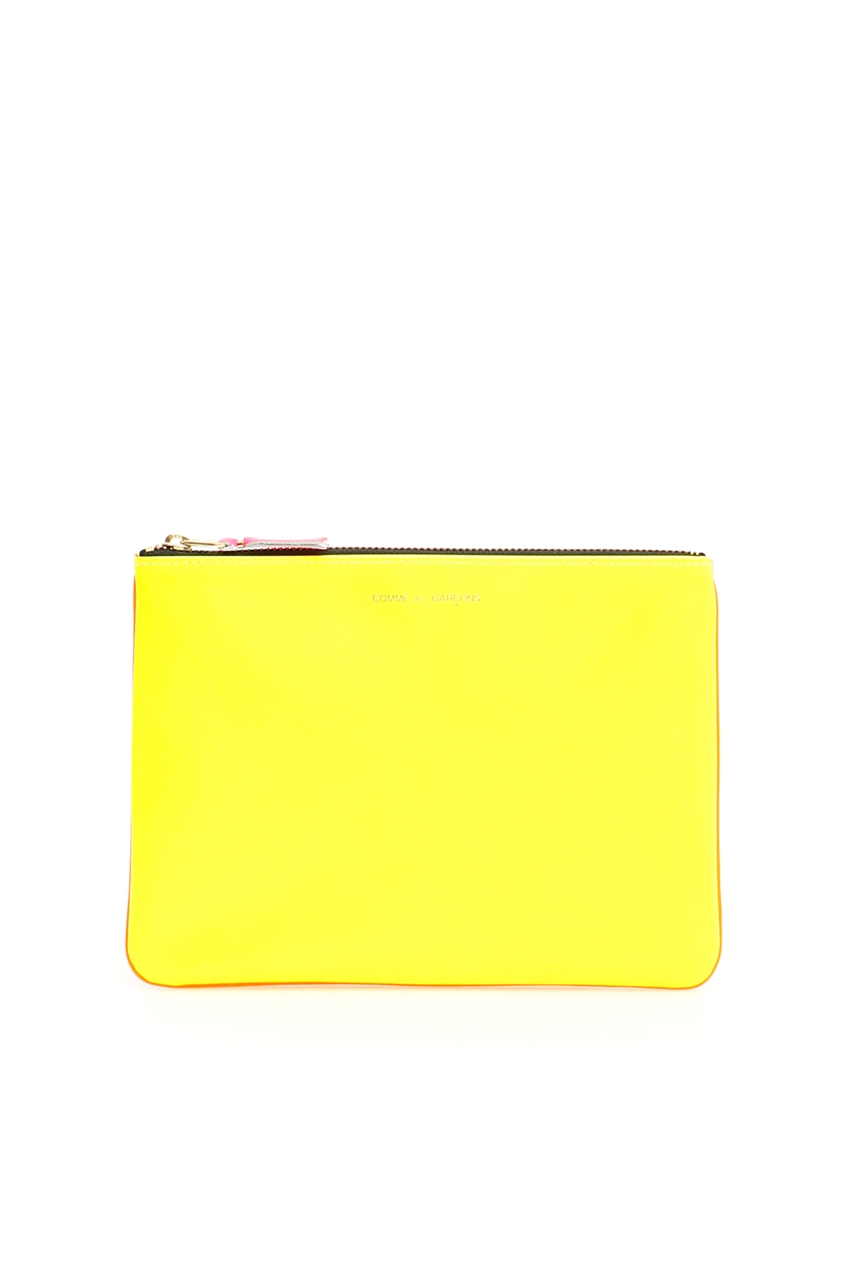 COMME DES GARCONS WALLET SUPER FLUO POUCH OS Yellow, Orange Leather