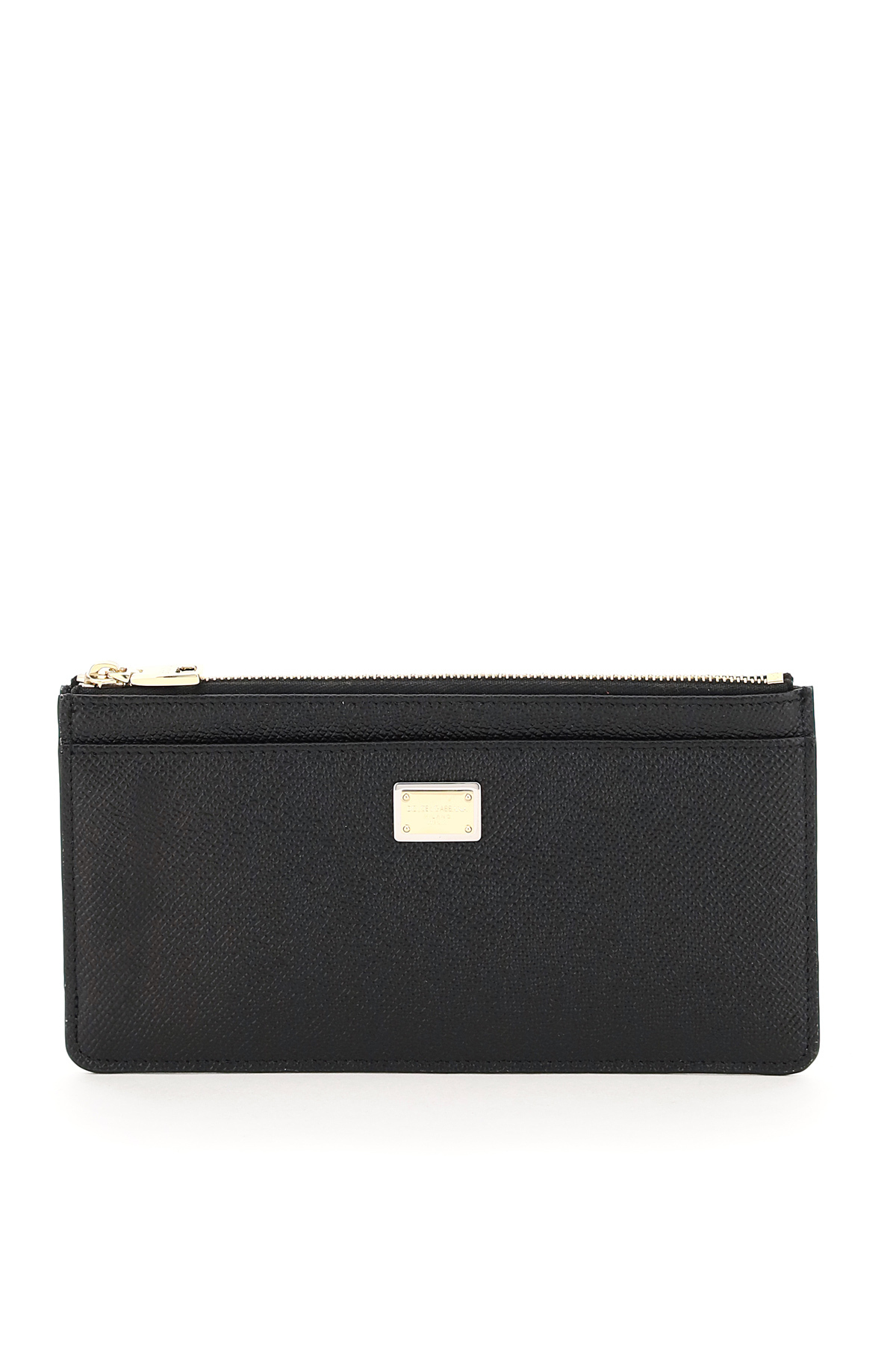 DOLCE & GABBANA CARD HOLDER POUCH IN DAUPHINE CALFSKIN OS Black Leather