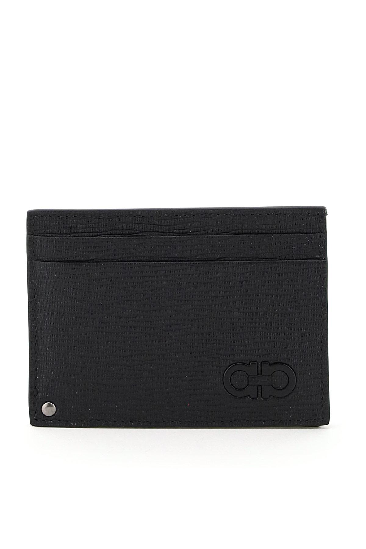 SALVATORE FERRAGAMO CREDIT CARD HOLDER OS Black, Grey Leather