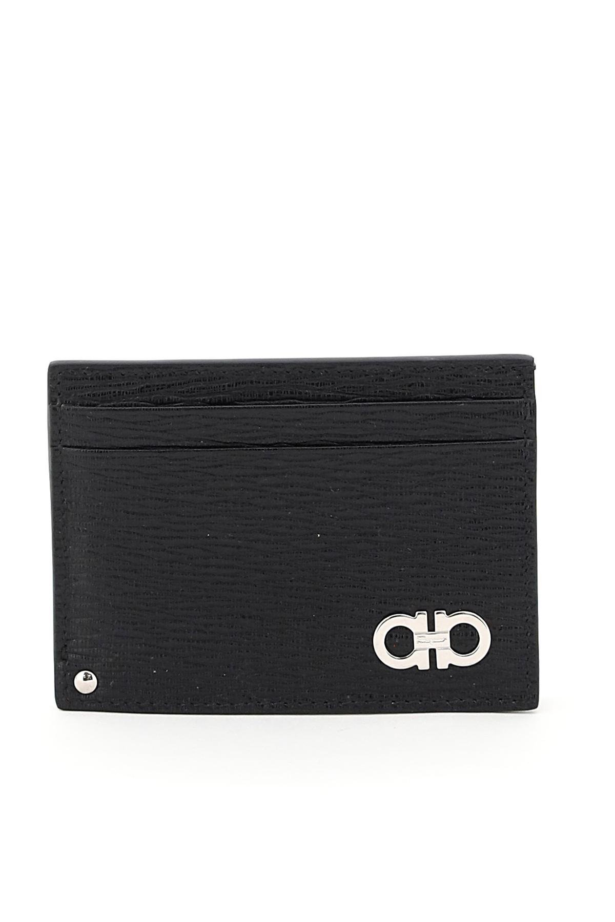 SALVATORE FERRAGAMO GANCINI CREDIT CARD HOLDER OS Black, Red Leather