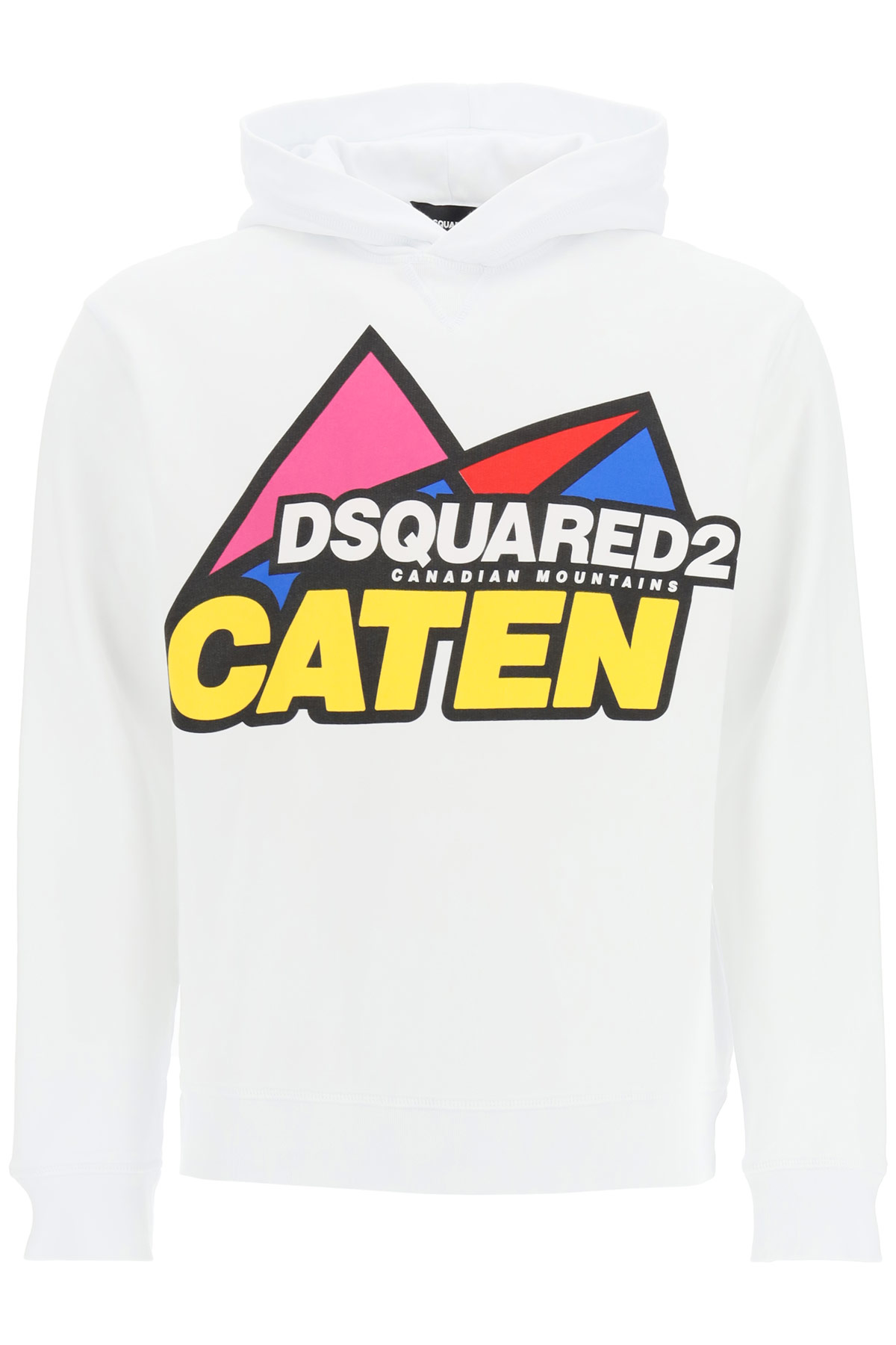 DSQUARED2 CANADIAN MOUNTAINS HOODIE S White, Yellow, Red Cotton