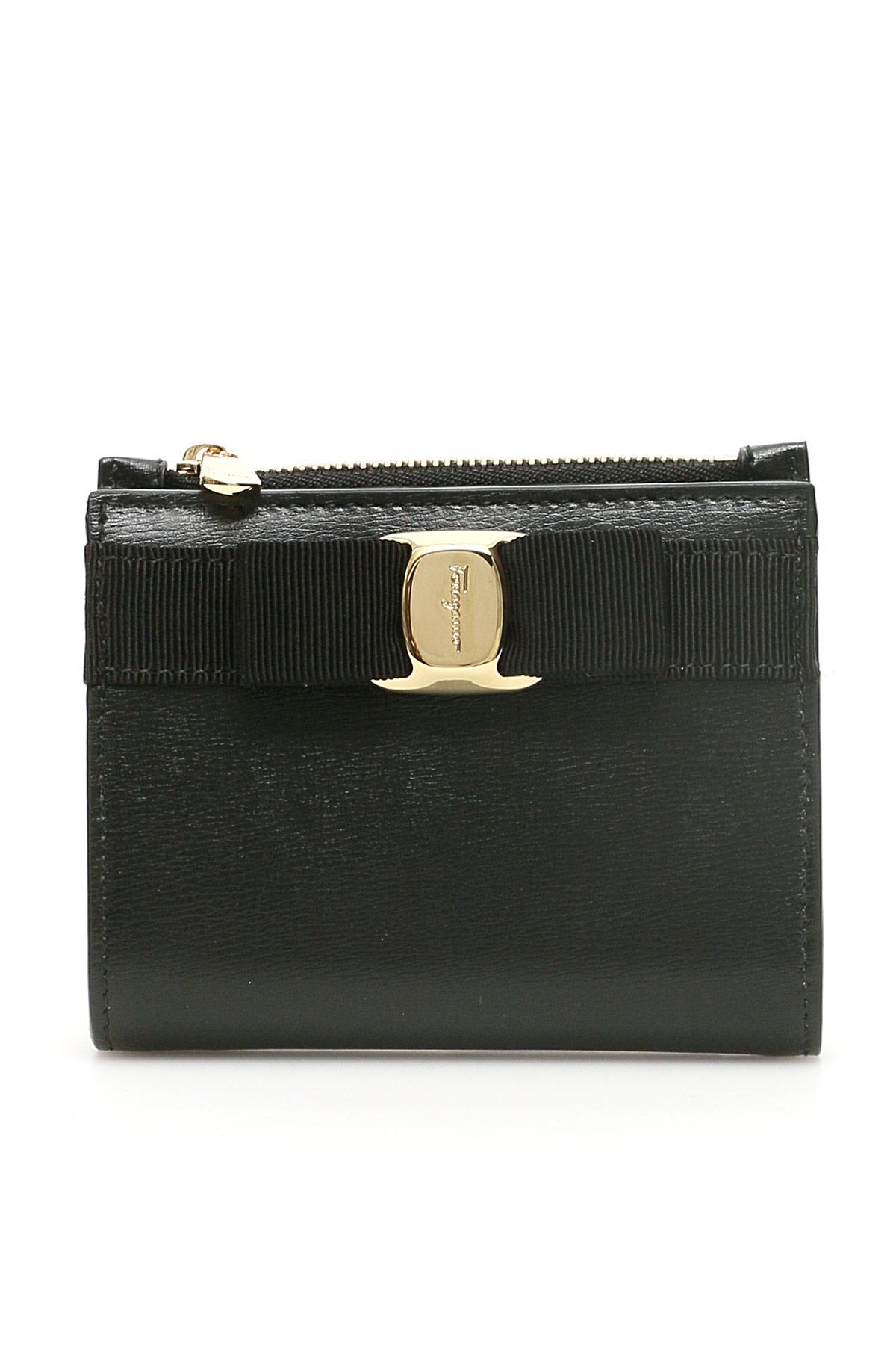 SALVATORE FERRAGAMO NEW VARA WALLET OS Black Leather
